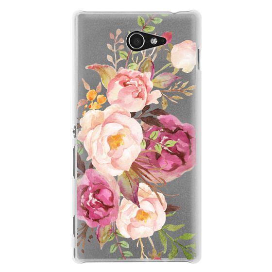 Sony M2 Cases - Watercolour Floral Bouquet - Transparent