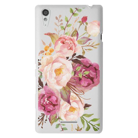 Sony T3 Cases - Watercolour Floral Bouquet - Transparent