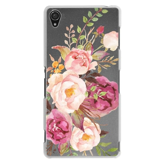 Sony Z3 Cases - Watercolour Floral Bouquet - Transparent