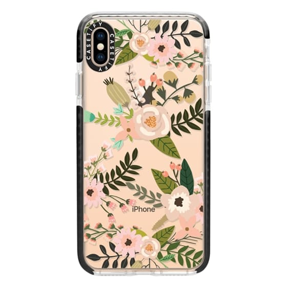 iPhone XS Max Cases - Peachy Pink Florals - Trasparent