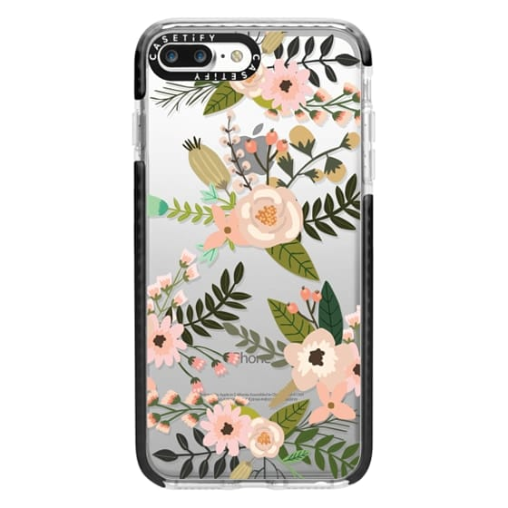 iPhone 7 Plus Cases - Peachy Pink Florals - Trasparent