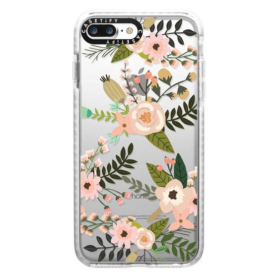 iPhone 7 Plus Cases - Peachy Pink Florals - Trasparent