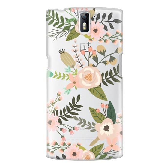 One Plus One Cases - Peachy Pink Florals - Trasparent