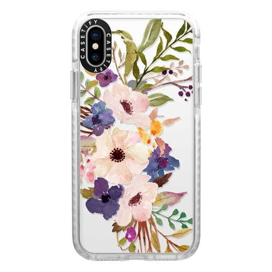 iPhone X Cases - Watercolour Floral Bouquet 2 - Transparent