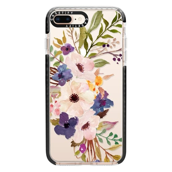 iPhone 8 Plus Cases - Watercolour Floral Bouquet 2 - Transparent