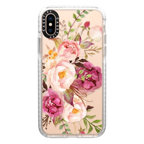 iPhone XS Cases - Watercolour Floral Bouquet - Transparent