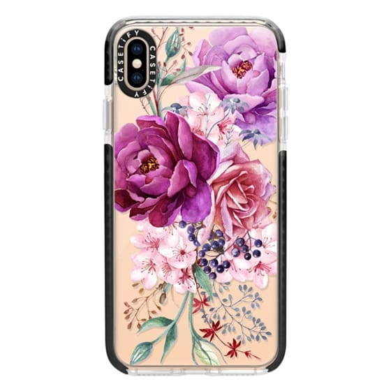 iPhone XS Max Cases - Purple Peony Watercolor Floral Bouquet