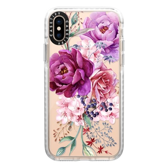 iPhone XS Cases - Purple Peony Watercolor Floral Bouquet