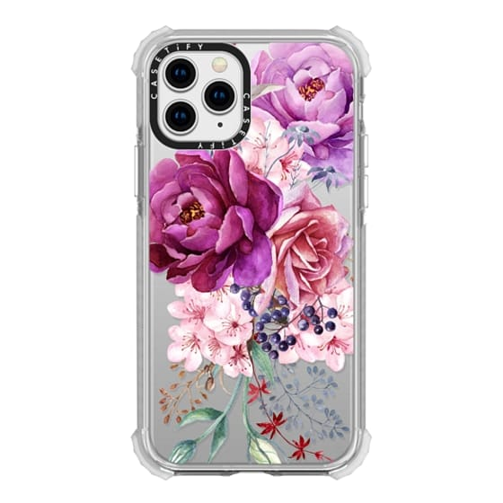 iPhone 11 Pro Cases - Purple Peony Watercolor Floral Bouquet