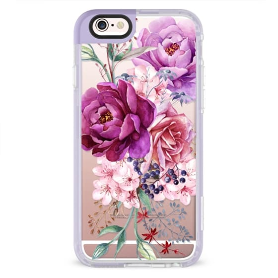 iPhone 6s Cases - Purple Peony Watercolor Floral Bouquet
