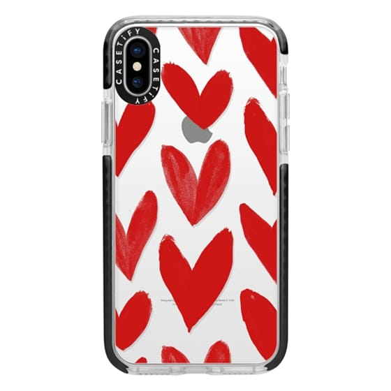 iPhone X Cases - Red Hearts