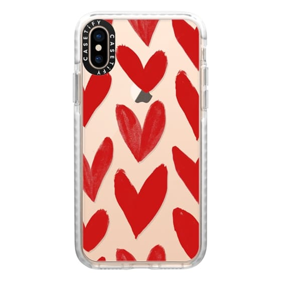 iPhone XS Cases - Red Hearts