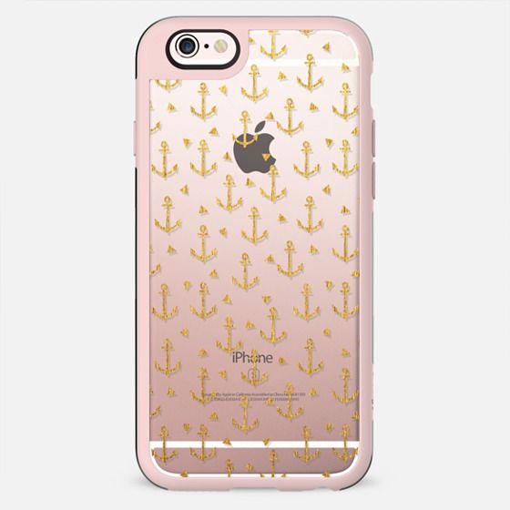Gold anchors nautical cell phone clear iphone6 case foil sparkle glitter ocean beach  - New Standard Case