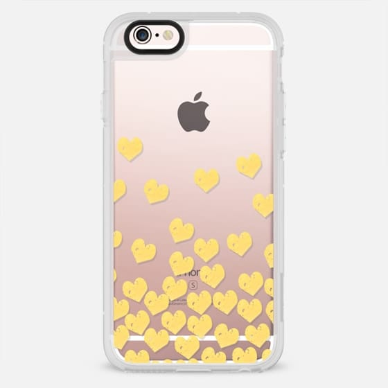 Gold Foil cell phone case transparent hearts dropping falling cascade of love - New Standard Case