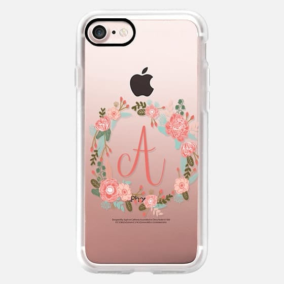 A monogram transparent clear case florals letter a name gifts for her