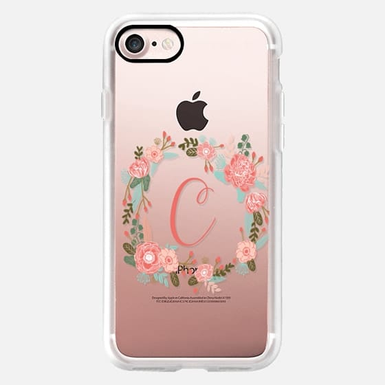 C monogram cell phone clear transparent iphone case for c name -