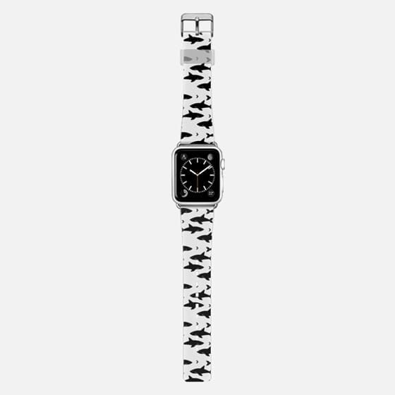 Shark attack apple watch band black and white modern minimal design geometric trendy -
