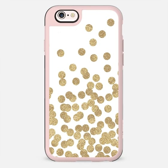 gold dots glitter gold glitter dots polka dot abstract trendy gold and white cell case, gold iphone - New Standard Case