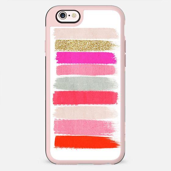 minnie - girly trendy glitter gold glitter pink brushstroke acrylic artist painterly case - New Standard Case