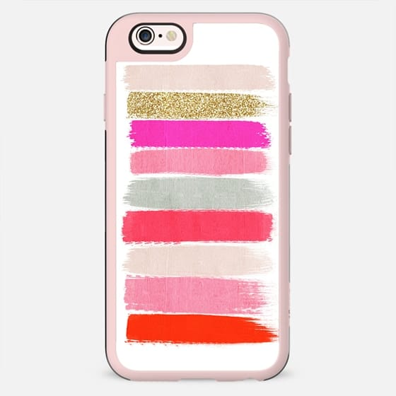 minnie - girly trendy glitter gold glitter pink brushstroke acrylic artist painterly case