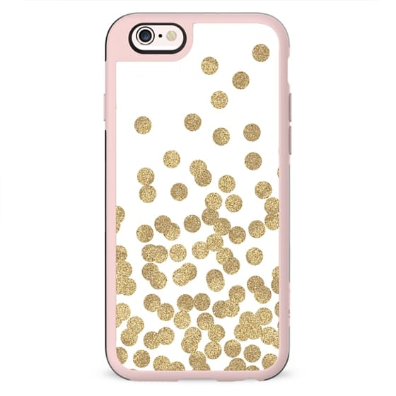 gold dots glitter gold glitter dots polka dot abstract trendy gold and white cell case, gold iphone