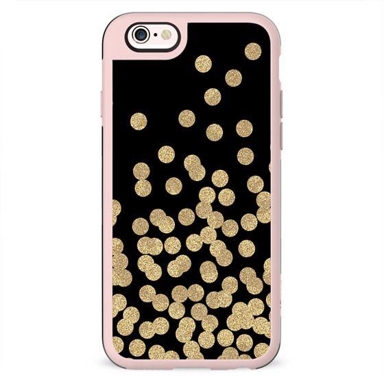 black gold glitter dots phone case trendy girly girl gold phone case gold and black gold foil