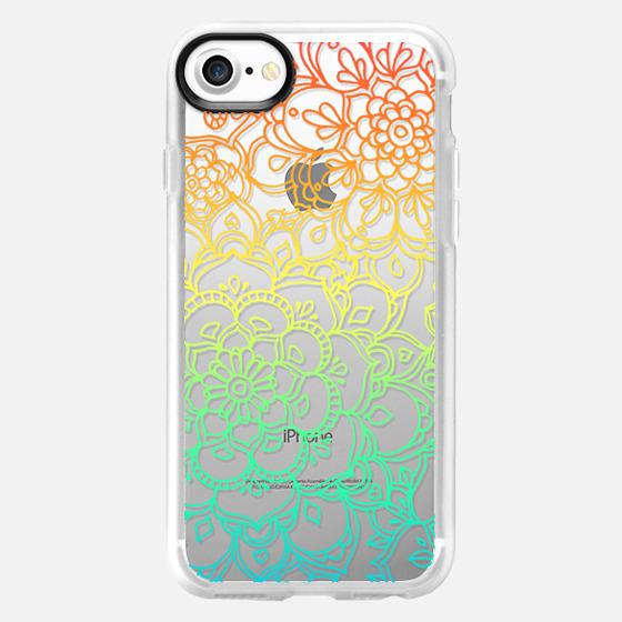 Rainbow Transparent Floral Doodle - Wallet Case