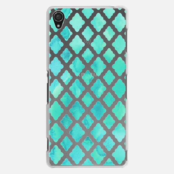 Mint Green Watercolor Diamond Pattern - transparent