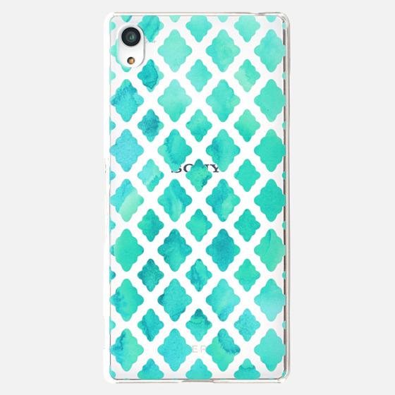 Mint Green Watercolor Diamond Pattern - transparent