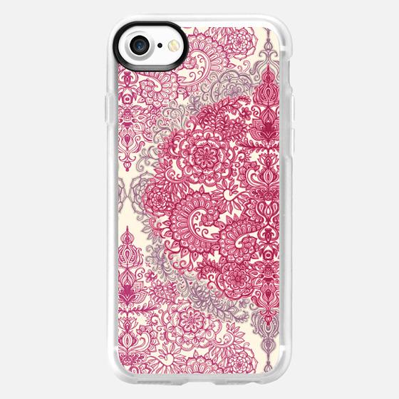 Pink & Cream Decorative Vintage Doodle - Wallet Case
