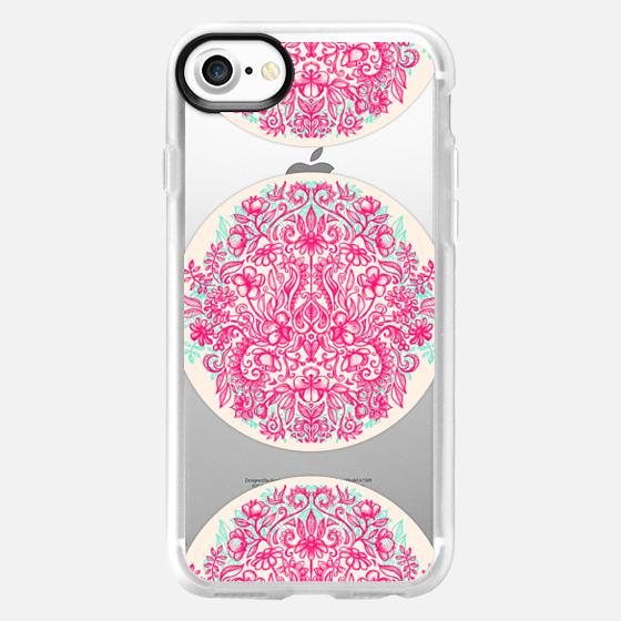 Spring Arrangement - pink transparent floral doodle design - Wallet Case