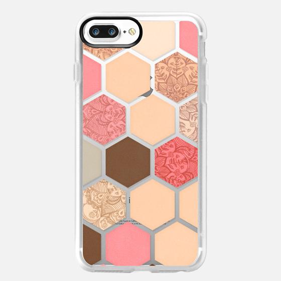 Caramel, Cocoa, Strawberries & Cream Transparent Hexagon Pattern -