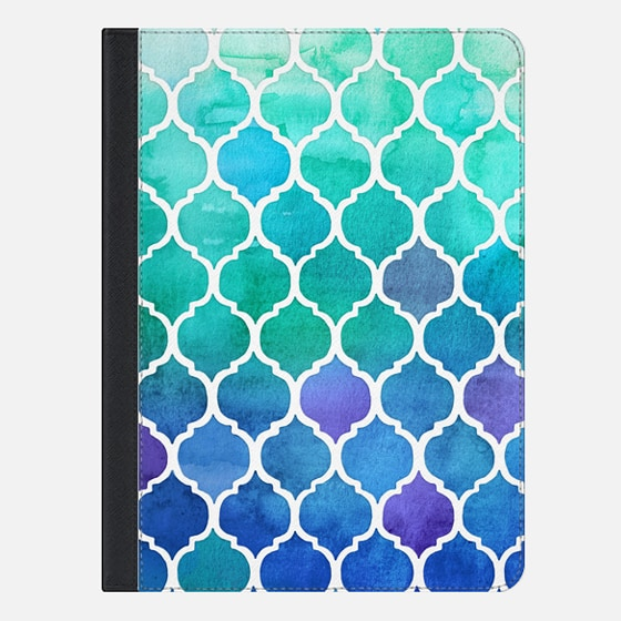 Emerald & Blue Marrakech Meander - watercolor Moroccan pattern