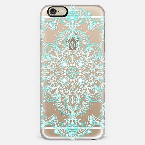 Aqua and White Lace Mandala - transparent -