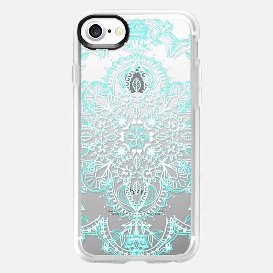Aqua and White Lace Mandala - transparent - Wallet Case