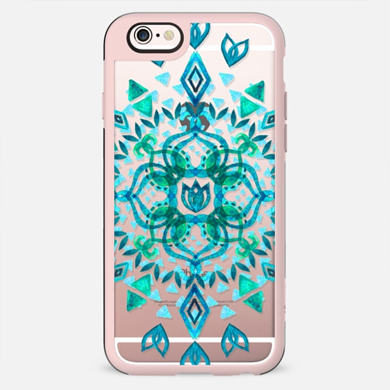 Aqua Watercolor Lotus Mandala on transparent - New Standard Case