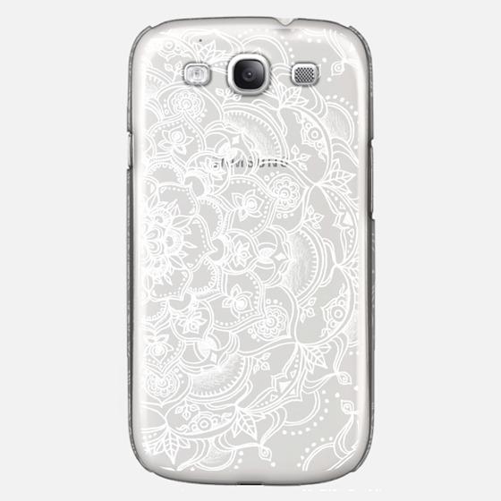 Fancy White Lace Mandala on crystal transparent