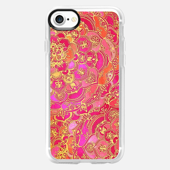 Hot Pink and Gold Baroque Floral Pattern - Wallet Case