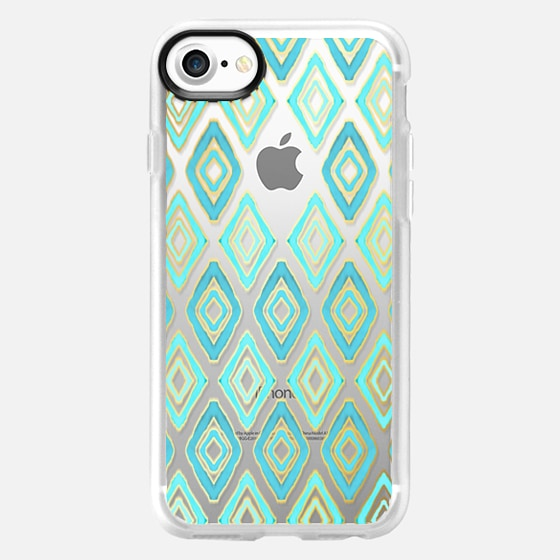 Turquoise Tribal Diamonds on Transparent - Wallet Case