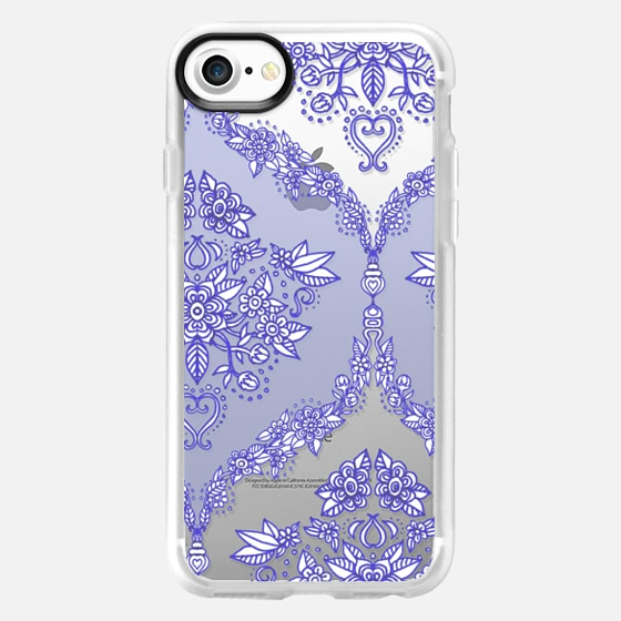 Pretty Purple Floral Pattern on Crystal Transparent - Wallet Case