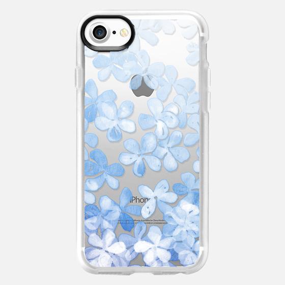 Plumbago Blossoms - pastel blue & white painted floral on transparent - Wallet Case