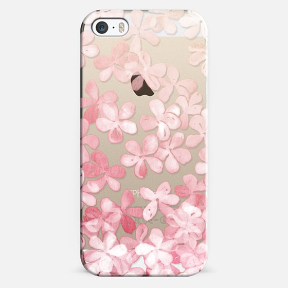 Spring Blossoms - pastel pink & cream floral painted pattern on transparent