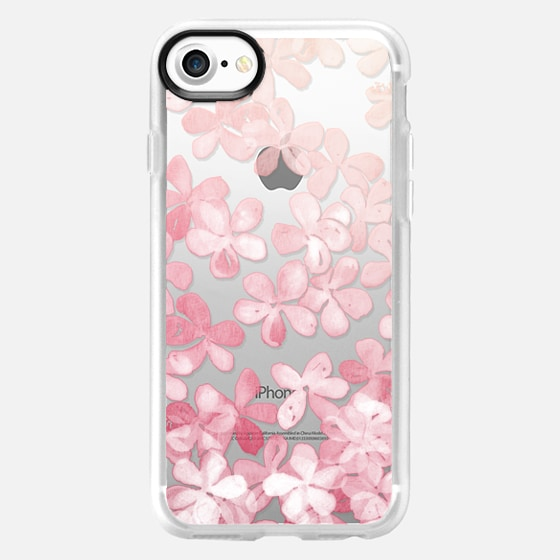 Spring Blossoms - pastel pink & cream floral painted pattern on transparent - Wallet Case