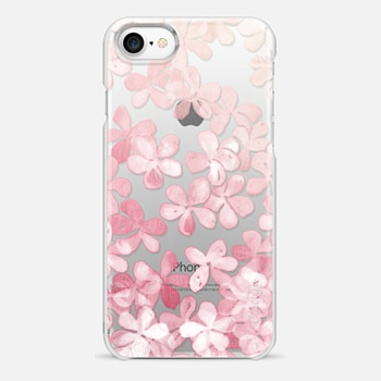 iPhone 7 Case Spring Blossoms - pastel pink & cream floral painted pattern on transparent