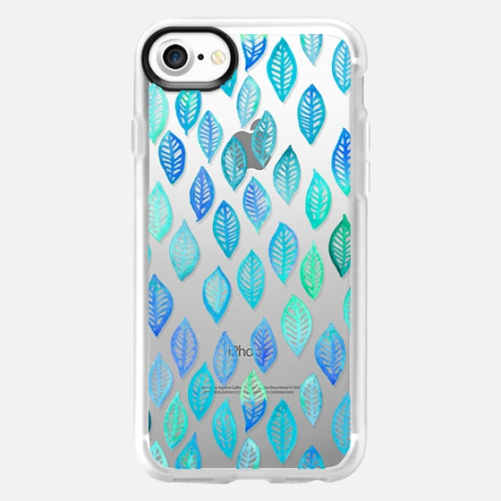 Watercolor Leaf Pattern in Blue & Turquoise on Crystal Transparent - Wallet Case