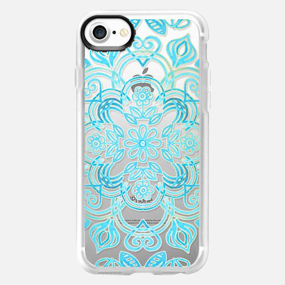 Turquoise Symmetry - Transparent Aqua Floral Pattern - Wallet Case