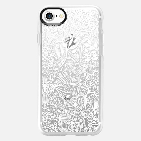 Frosty Floral - white hand drawn floral pattern on crystal transparent - Wallet Case