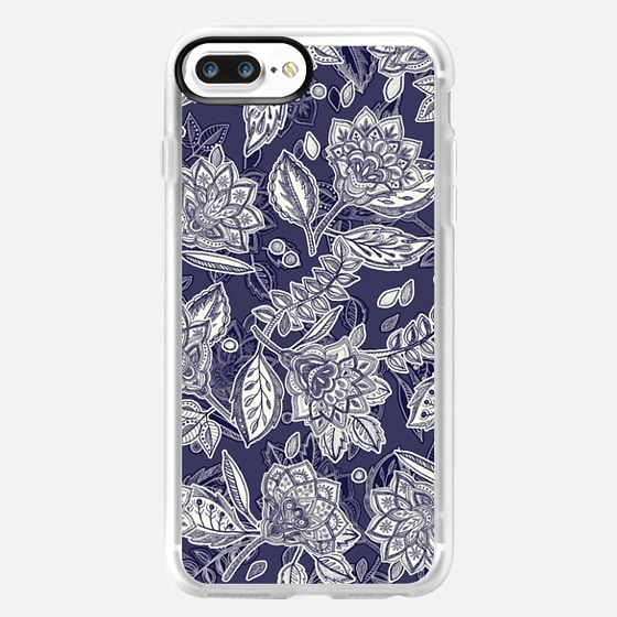 Decorative Floral Pattern in Navy and Cream -
