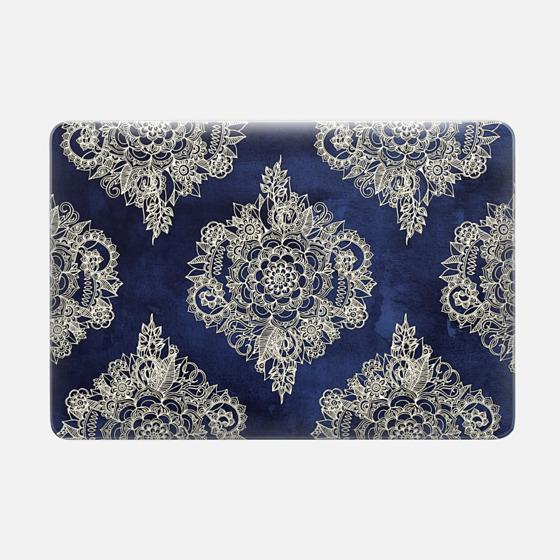 Cream Floral Moroccan Pattern on Deep Indigo Ink