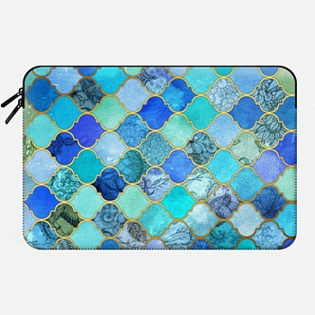Macbook 12 Sleeve Cobalt Blue, Aqua & Gold Decorative Moroccan Tile Pattern